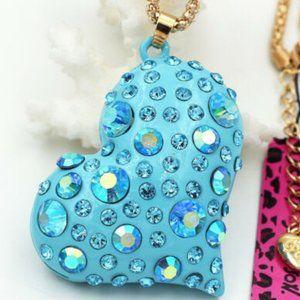Betsey Johnson Rhinestone Blue Heart Necklace